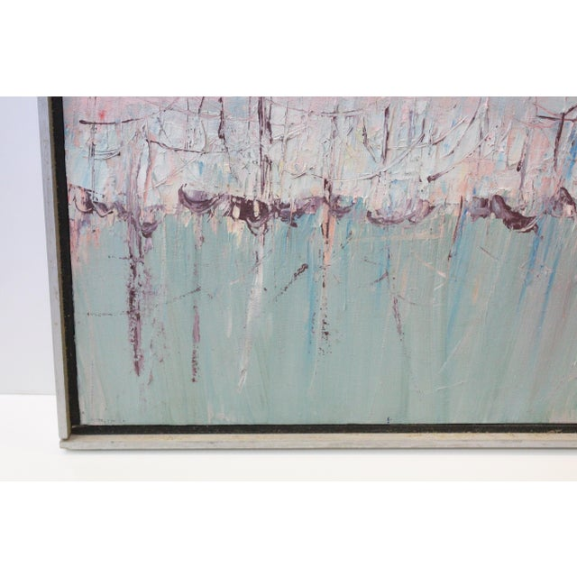 Vintage Mid-Century Kenneth Forman Holland Harbor Abstract Painting For Sale - Image 4 of 8