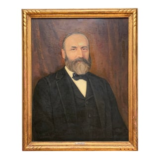 Original Vintage 1930's Large Oil Painting, Bearded Man in Suit, Signed For Sale
