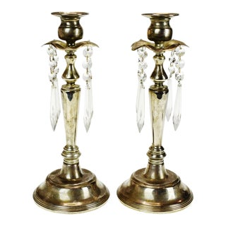 Vintage Silver Colored Prism Candle Holders - a Pair For Sale
