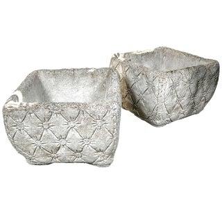 "1960s Vintage Cast Stone ""Tufted"" Planters- a Pair For Sale"