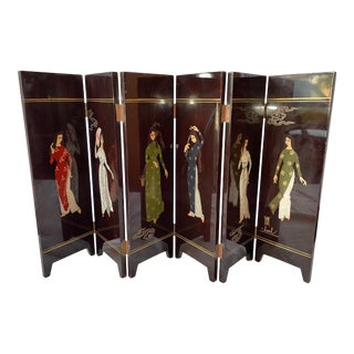 Vintage Signed Table Top Japanese Hand-Painted Geisha Girl Divider Screen For Sale