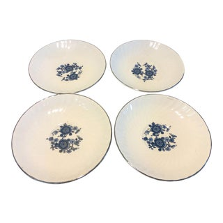 1950s Wedgewood Royal Blue Ironstone Saucers - Set of 4 For Sale