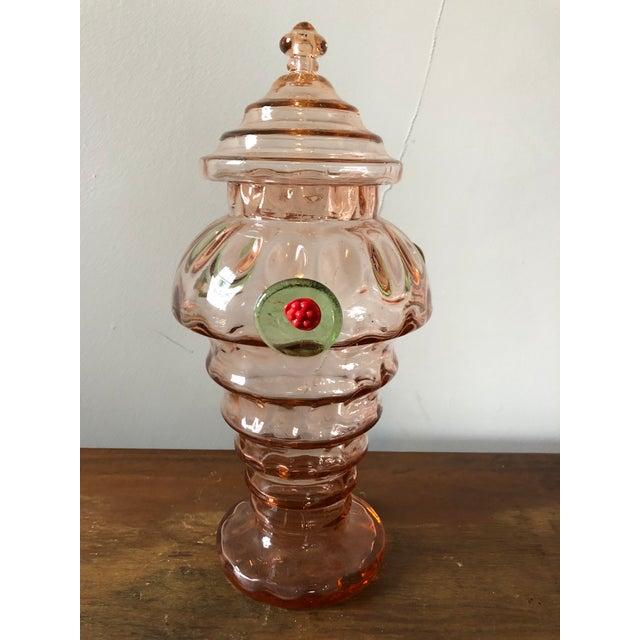 Art Glass Mid Century Italian Art Glass Candy Jar For Sale - Image 7 of 7