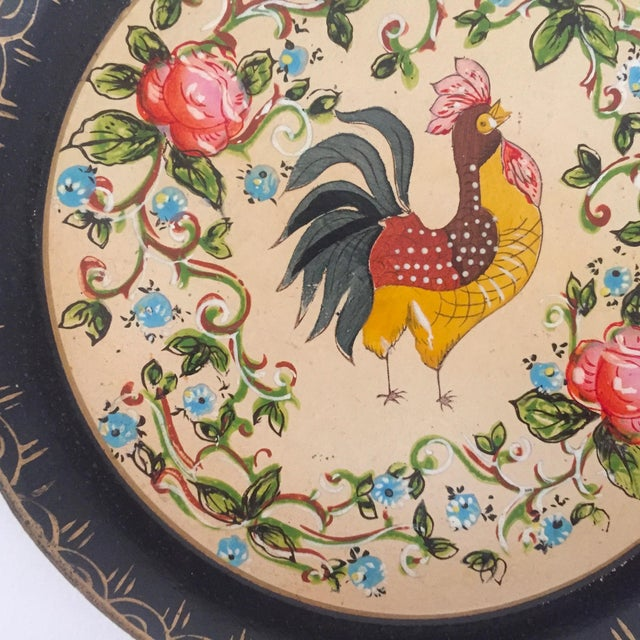 1940s Vintage 1940's Japanese Hand Painted Rooster Decorative Plates - A Pair For Sale - Image 5 of 11