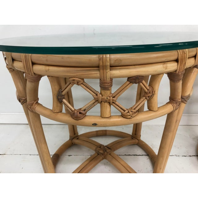 Late 20th Century Vintage Boho Chic Rattan and Reed Side Tables - a Pair For Sale - Image 5 of 11
