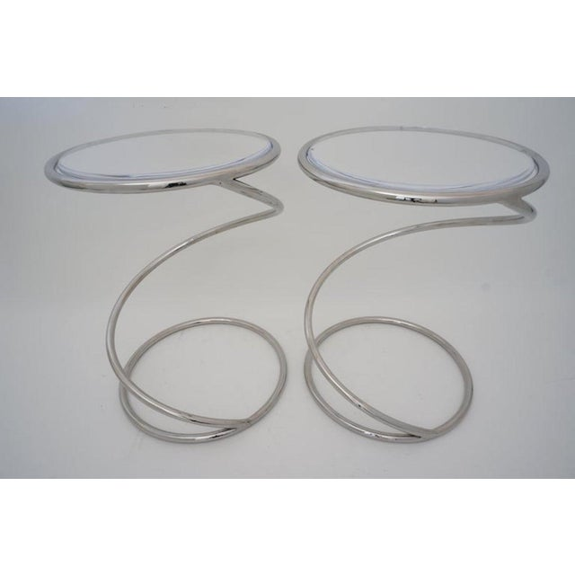 """Silver Vintage Leon Rosen for Pace """"Spring"""" Coil Tables, Side or Drink, Nickel Plated With Lucite Tops - a Pair For Sale - Image 8 of 12"""