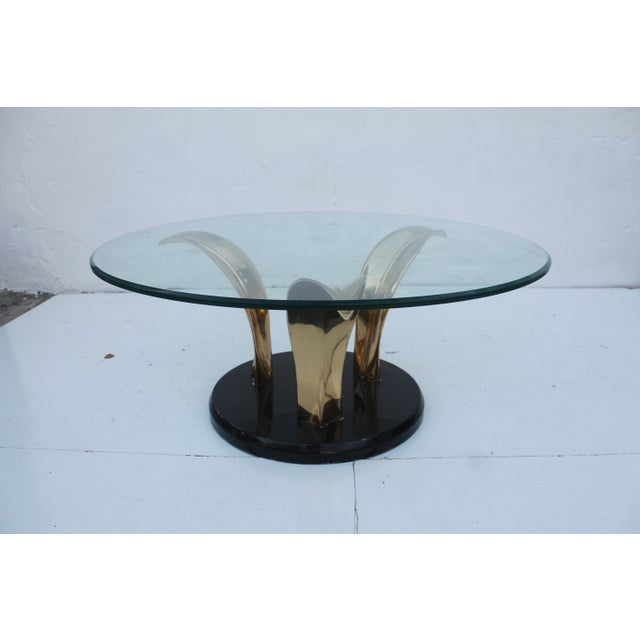 Lacquer & Brass Palm Leaf Coffee Table For Sale - Image 9 of 10