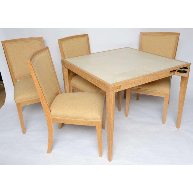 Oak Frank Game Table and Set of 4 Chairs by Mattaliano For Sale - Image 7 of 10
