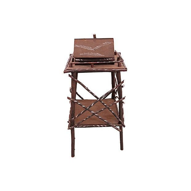 Twig Side Table w/Cabin For Sale - Image 4 of 6