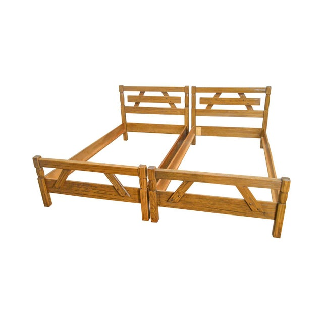 Brandt Ranch Oak Rustic Pair of Sawbuck Twin Beds - a Pair For Sale - Image 13 of 13