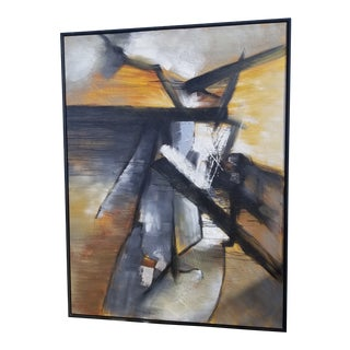 Contemporary Abstract Art on Canvas in Black Frame For Sale