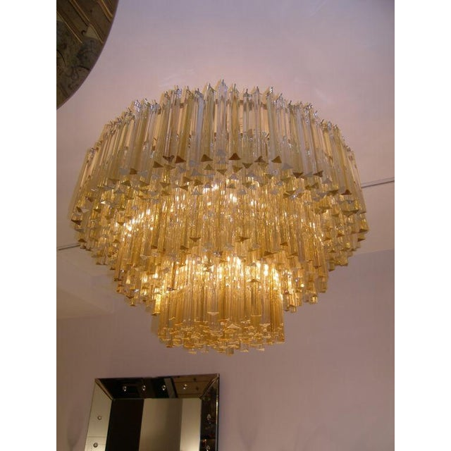 1920s Three-Tiered Amber and Clear Crystal Chandelier For Sale - Image 5 of 5