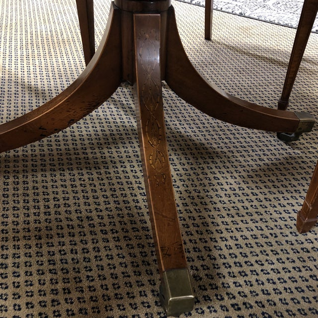 Neoclassical Inlaid Oval Table & 4 Chairs - 5 Pieces For Sale - Image 9 of 10