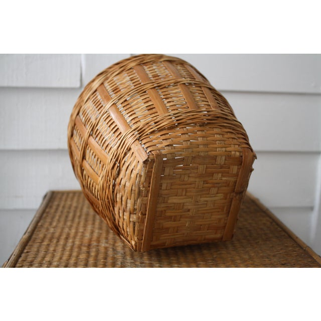Boho Chic Vintage Woven Wicker Basket For Sale - Image 3 of 10