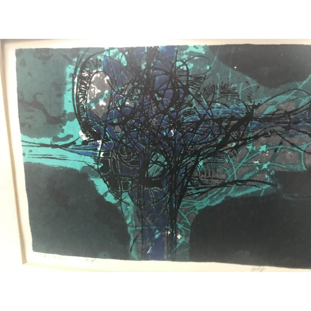 "Framed abstract mixed media 1964 ""Grotto"" by Douglas H Teller. Signed and numbered 11/18. Teal Green, lighter teal and..."
