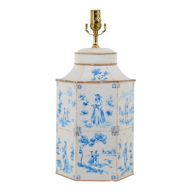 Vintage English hand-painted blue and white in Delf figures Tea Caddy table lamp. The artist hand-painted a total of 12...