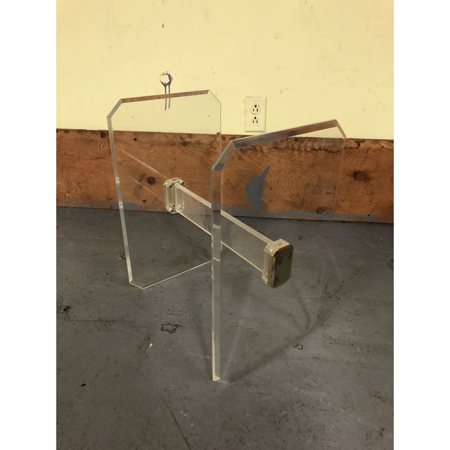 Mid-Century Modern 1970s Mid-Century Modern Lucite & Brass Table Base For Sale - Image 3 of 11
