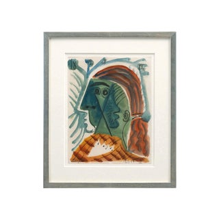 "Mid-Century Abstract ""Woman With Red Hair"" Watercolor Painting by Raymond Debieve For Sale"