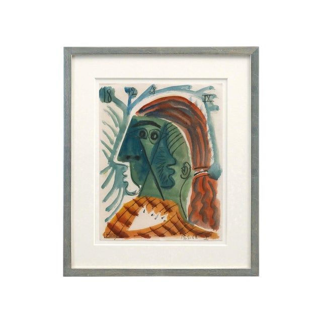 """Mid-Century Abstract """"Woman With Red Hair"""" Watercolor Painting by Raymond Debieve For Sale"""