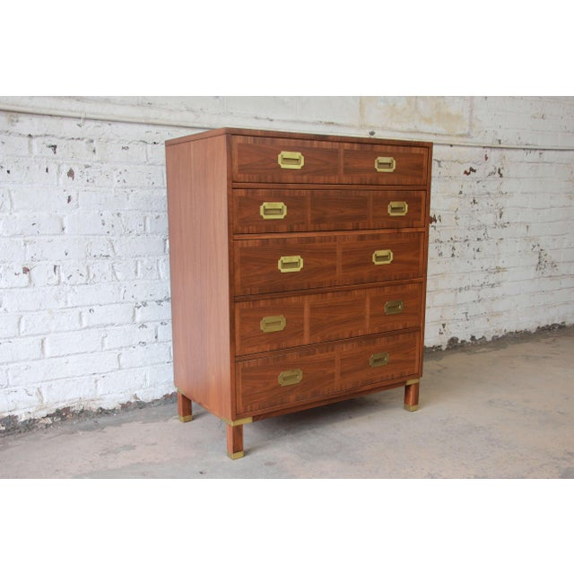 Campaign Baker Furniture Milling Road Campaign Style Highboy Dresser For Sale - Image 3 of 10