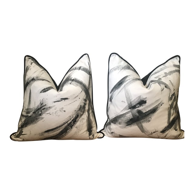 Abstract Hand-Painted Custom Artist Signed Pillows - a Pair For Sale