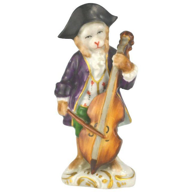 White Antique Porcelain Monkey Musician, from Germany, Purple Coat For Sale - Image 8 of 8