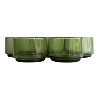 Mid-Century Green Wine Glasses - Set of 5 For Sale