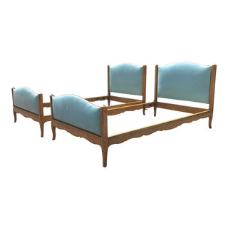 Vintage Upholstered Twin Beds- a Pair For Sale