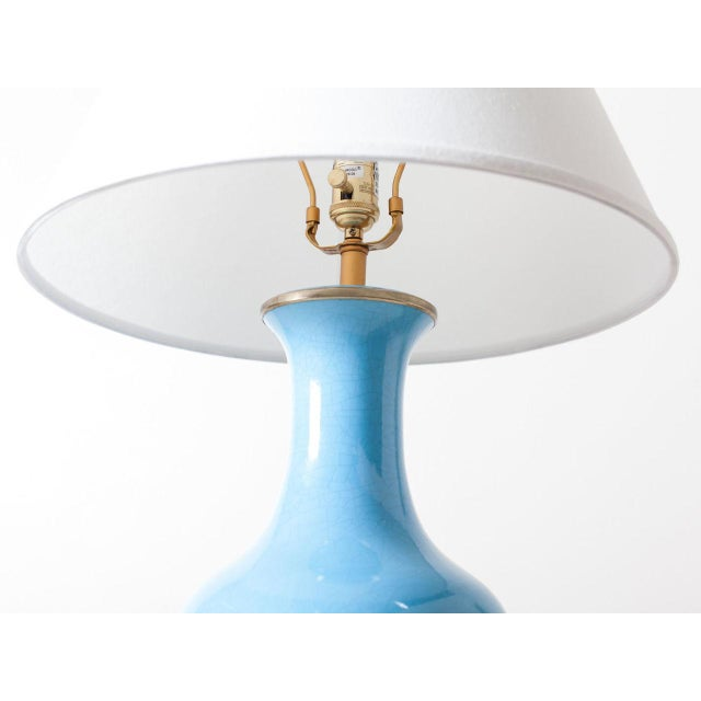 Contemporary Turquoise Crackle Lamp For Sale - Image 4 of 6