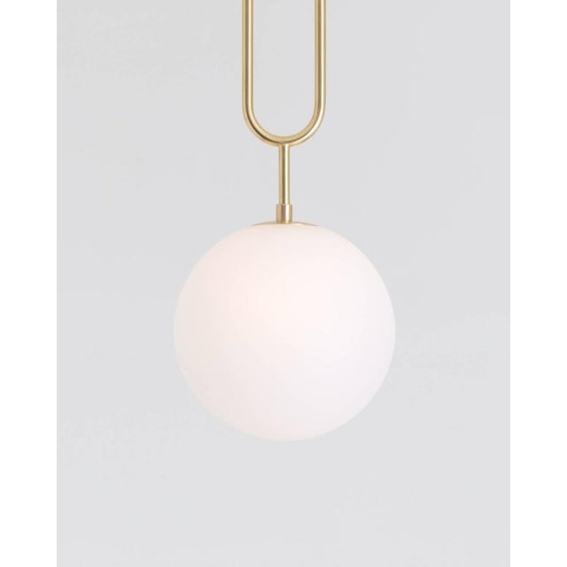 Art Deco Modern Koko Pendant Light with Satin Globe Shade in Brushed Brass Finish For Sale - Image 3 of 10