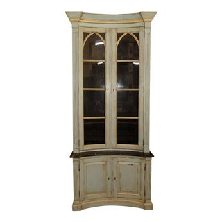 French Country Painted and Distressed Display Cabinet For Sale
