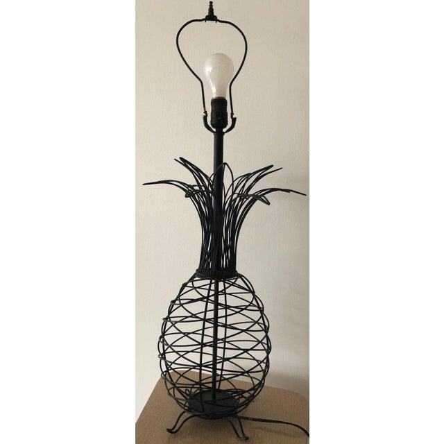 For your consideration we are presenting for sale an original vintage black wire and metal pineapple lamp designed by...