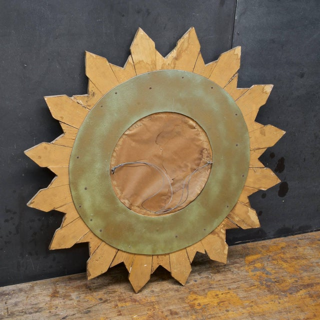 1960s Rustic Wooden Starburst Convex Wall Mirror Patina Hollywood Rococo Mid-Century For Sale - Image 5 of 6