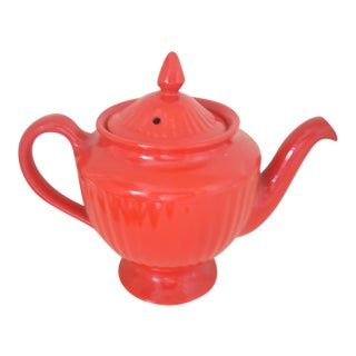 Hall Pottery Red Ribbed Teapot For Sale