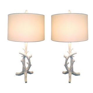 White Faux Bois Bedside Lamps Inspired by Serge Roche - a Pair - Mid Century Modern MCM Hollywood Regency Palm Beach Boho Chic Tree Branch For Sale