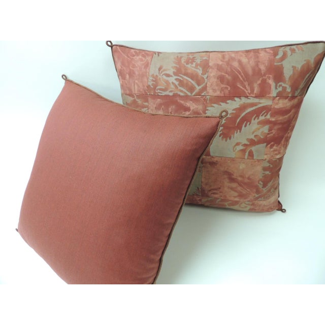 """Fortuny Pair of Vintage Patchwork Fortuny """"Glicine"""" Pattern Red and Silvery Pillows For Sale - Image 4 of 5"""