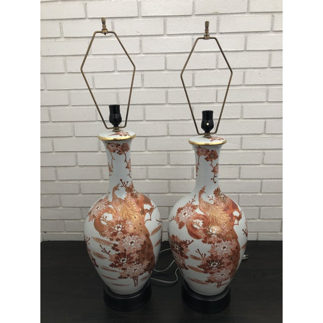 Gorgeous Vintage Peacock table lamps from the 1960's. Great working condition. Kutani style made in Japan.