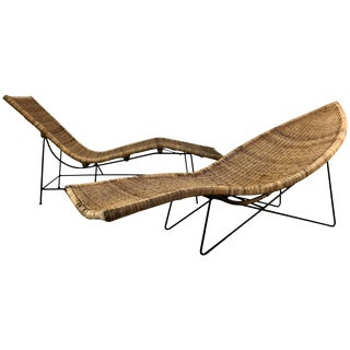 "Classic Modernist John Salterini Wicker and Iron ""Fish"" Chaise Lounges - A Pair For Sale"