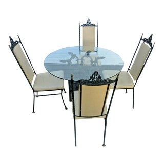 Wrought Iron Patio Dining Set Glass Top Table and 4 Chairs by Antarenni For Sale