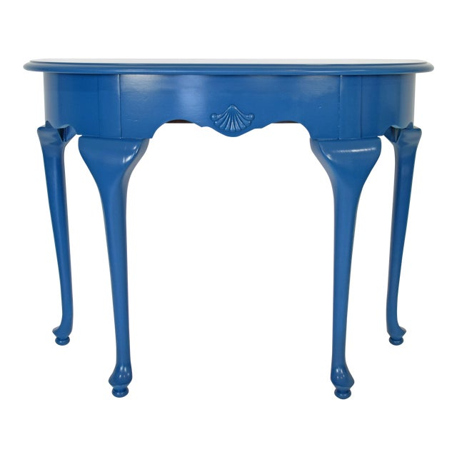Queen Anne Half-Moon Shape Blue Console Table For Sale