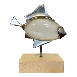 Mid Century Glass Fish Sculpture For Sale