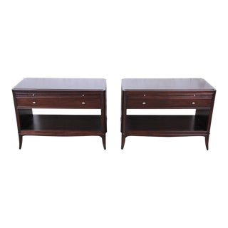 Barbara Barry for Baker Furniture Oversized Mahogany Nightstands, Newly Restored- a Pair For Sale