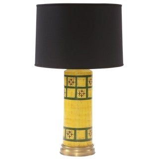 Lovely Glazed Ceramic and Brass Lamp by Raymor For Sale