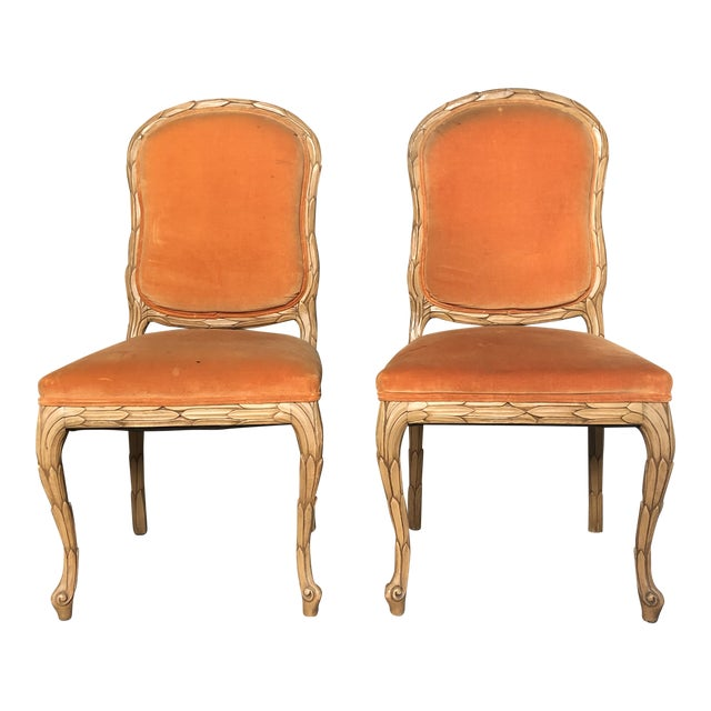 Carved Palm Beach Style Dining Side Chairs- a Pair For Sale