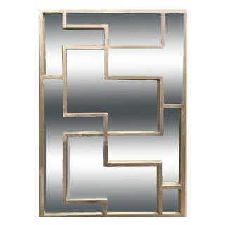 Worlds Away Modern Lotus Silver Panel Wall Mirror For Sale