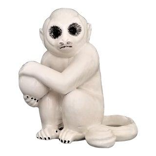 White Italian Ceramic Porcelain Monkey - Signed Italy - Mid Century Modern MCM Boho Chic Palm Beach Bohemian Elvis Presley Statue Figurine For Sale