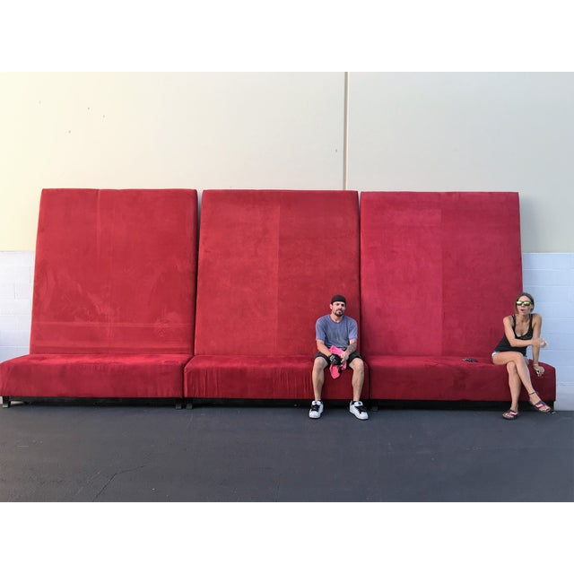 High-Back Red Velvet Benches - Set of 3 - Image 3 of 9