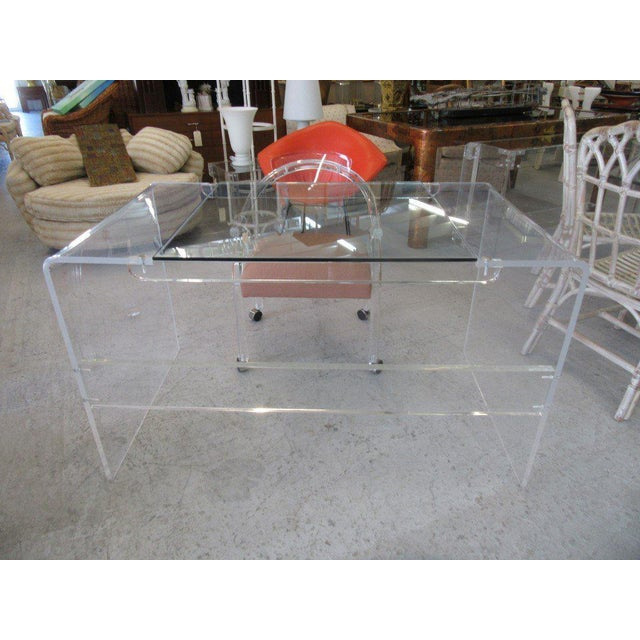 Lucite & Glass Lucite Waterfall Desk - Image 8 of 8