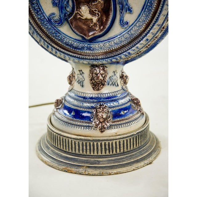 Blue 1920s Neoclassical Italian Porcelain Pitcher Double Light Table Lamp For Sale - Image 8 of 12