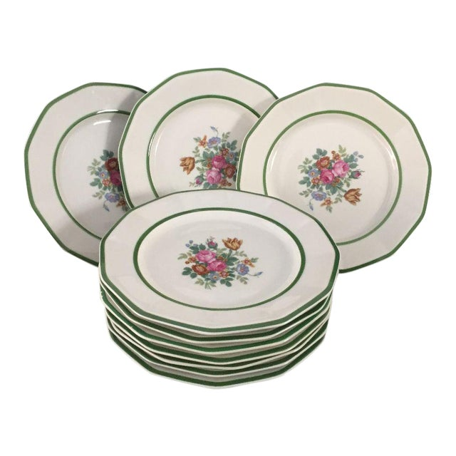 """Black Knight China"" Floral Lunch Plates - Set of 10 For Sale"